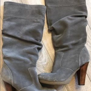 Slouchy grey suede heeled boots